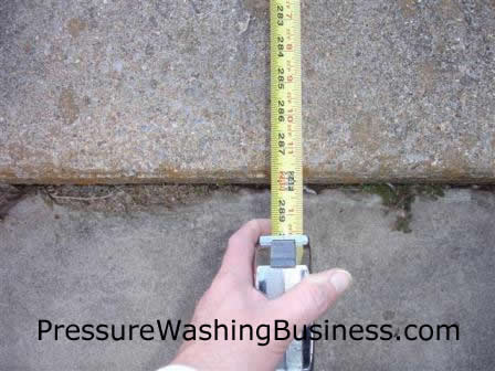 measuring a pressure washing job